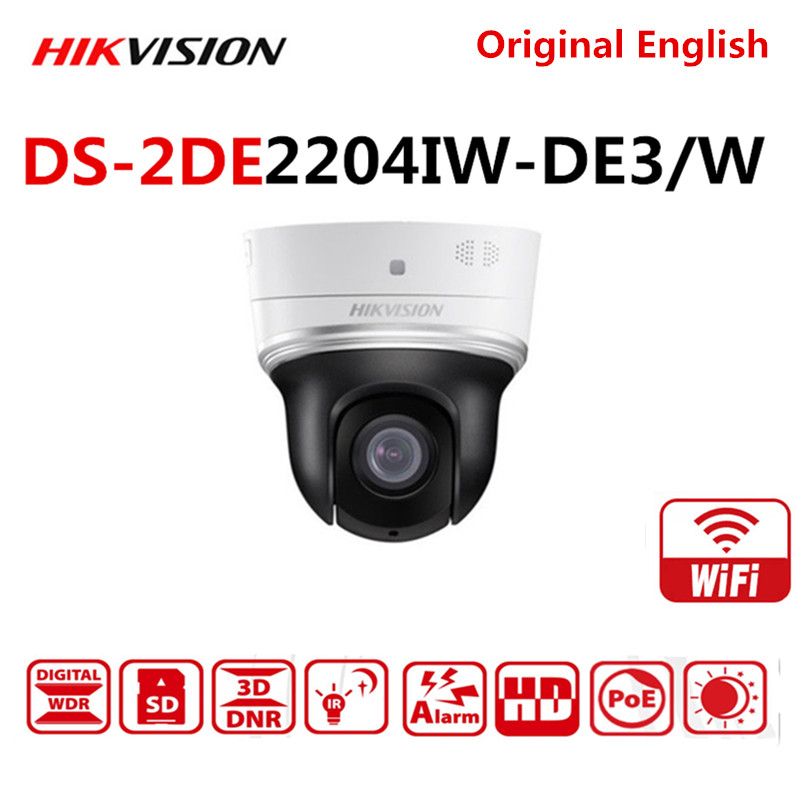 Hikvision DS-2DE2204IW-DE3/W English Version 2MP/1080P 4× Wifi Mini PTZ IP Camera wireless with IR Support PoE ONVIF SD Card