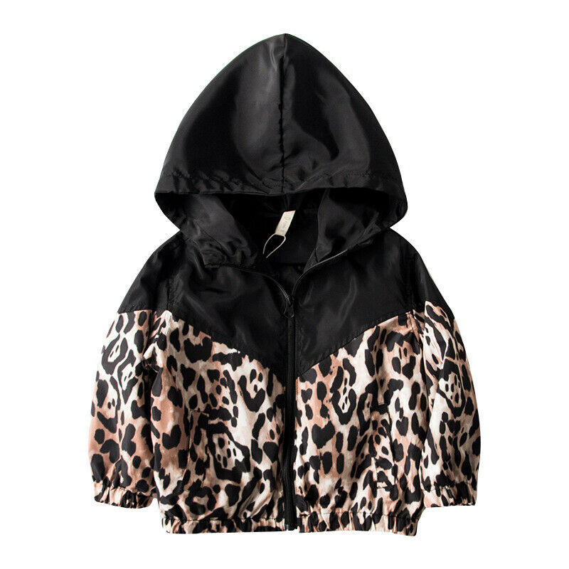 Maximum supplier Kids Baby Girls Jacket Leopard Print Patchwork Hooded Coat Autumn Outwear 1-7T(China)