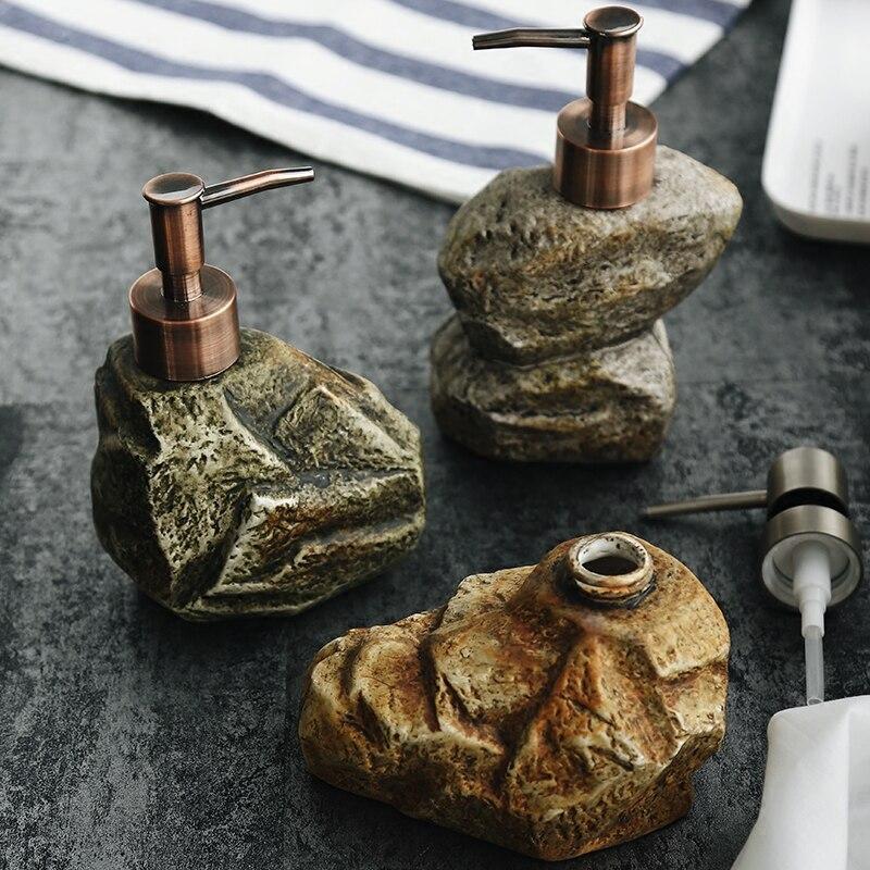 310-350ML Vintage Stone Shape Ceramic Soap Dispenser Bathroom Accessories Hand Sanitizer Bottle Lotion Bottle