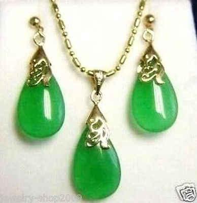 משלוח חינם >>@> תכשיטים ירוק ירקן תליון שרשרת עגיל סט 18K זהב מצופה שעון סיטונאי קוורץ אבן CZ קריסטל