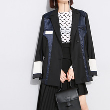 2019 Autumn Patchwork Women Blazer Jacket Lapel Lo