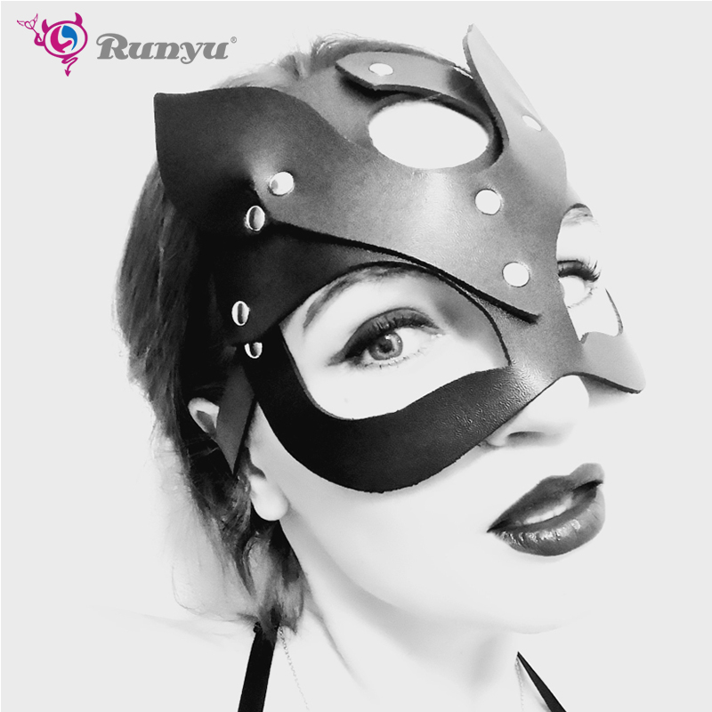 Black Sexy Mask Blinder Blindfold Erotic Fetish Bdsm Slave Restraint <font><b>Adult</b></font> Game <font><b>Sex</b></font> <font><b>Toy</b></font> Product <font><b>For</b></font> Women <font><b>Lady</b></font> PU Mask Cutout image