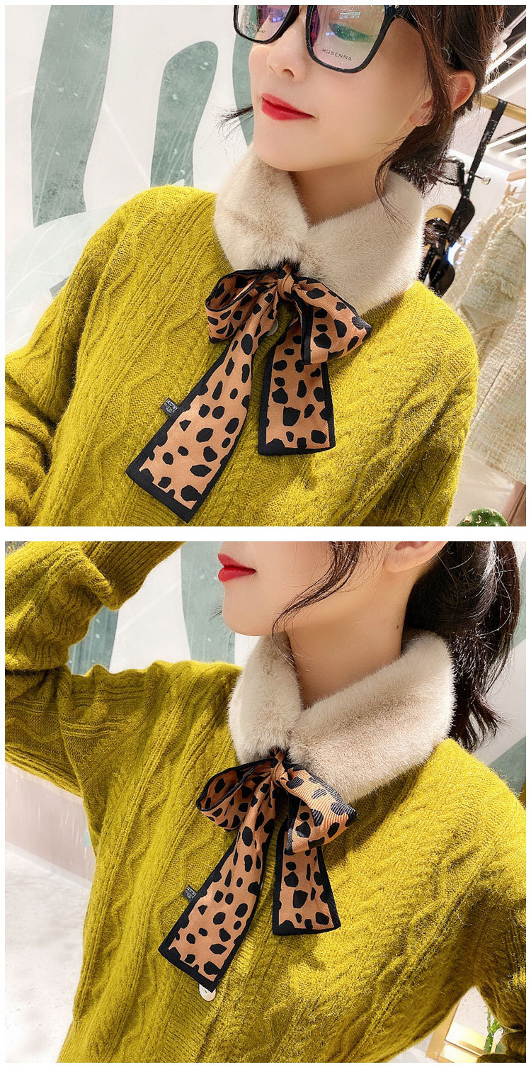 H7563632e7d9c459ea236f597e262d179m - New Long Skinny Silk Letter Leopard Printed Hair Head Scarf with Winter Warm Faux Fur Neck Collar Scarves for Women Foulard