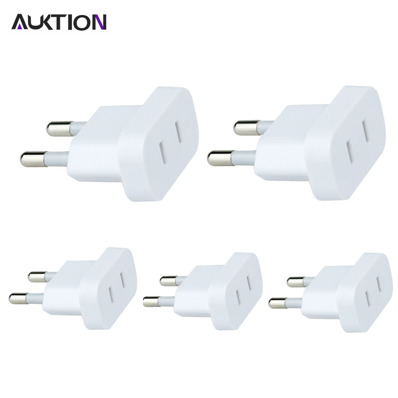5PCS/Lot AUKTION US To EU Euro Plug Converter Adaptor With Security Door AC Power Adapter Travel Wall Charge Socket Adapter