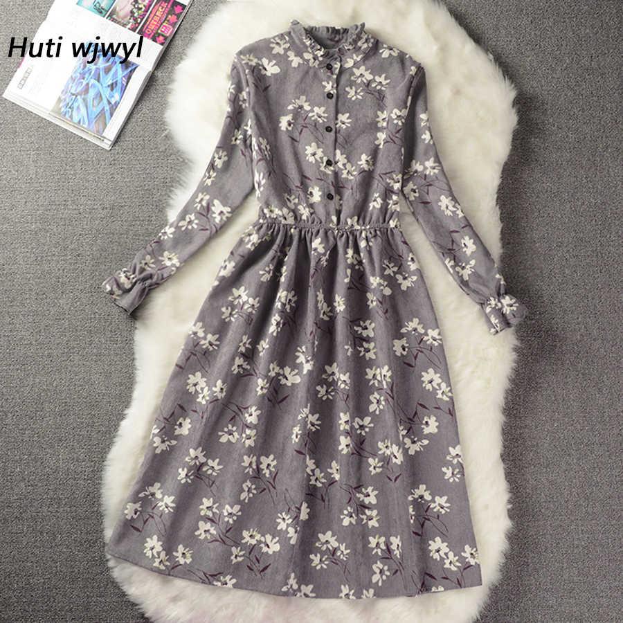 Женское бархатное винтажное пригородное платье с высокой эластичной эластичной талией, женское платье, трапеция с длинным рукавом, вечернее платье с цветочным принтом, элегантное стройное весеннее платье, 18 цветов