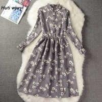 Corduroy High Elastic Waist Vintage Dress A-line Style Women Full Sleeve Flower Plaid Print Dresses Slim Spring Dress 25 Colors