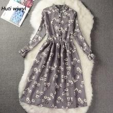 Corduroy High Elastic Waist Vintage Dress A-line Style Women Full Sleeve Flower