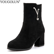 Flock Ankle Boots Women Autumn Winter Woman High Thick Heels A319 Fashion Lady Crystal Decoration Zipper Round Toe Black Shoes new 2017 autumn winter high quality genuine leather ankle boots thick high heels round toe solid black shoes woman