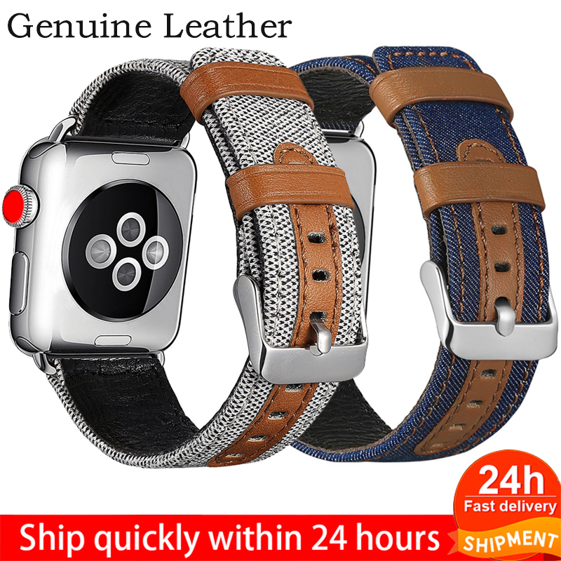 Strap For Apple Watch 38mm 42mm Watch Band Fabric Leather Material For IWatch 40mm 44mm Series 5 4 3 Strap Watchband Bracelet