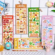 2 sztuk śliczne kreskówkowy niedźwiadek naklejki dekoracyjne dekoracyjne przyklejane etykiety pamiętnik naklejka na Album Kawaii koreański akcesoria papiernicze