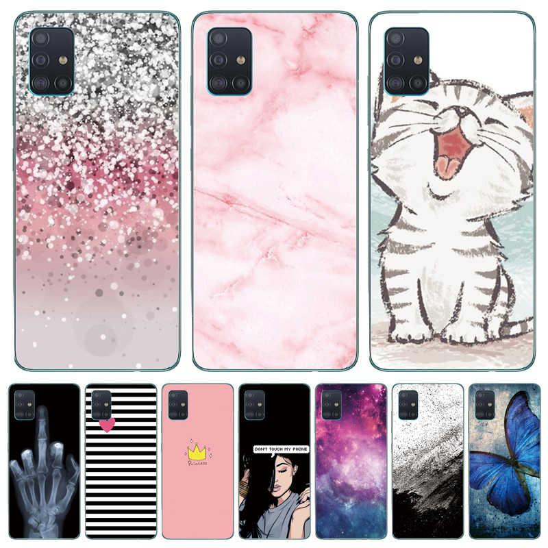 For Samsung Galaxy A51 Case Silicon Transparent Back Cover Phone Case For Samsung A51 A515 Soft Case 6.5inch Cat flower