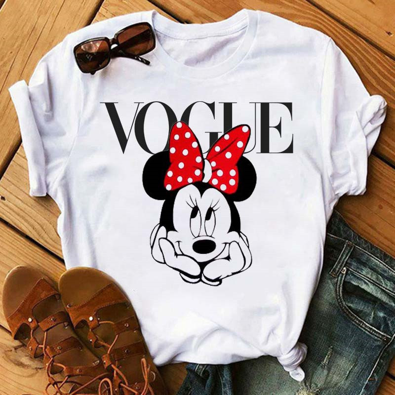 Maycaur Minnie Mouse Cute T Shirt Vogue Women Mouse Printed Shirt Tumblr Femme Girl Tees Hipster Kawaii Holiday Summer Femme Top