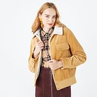 Spring and Autumn 2020 Women's corduroy short coat Keep warm Female jacket
