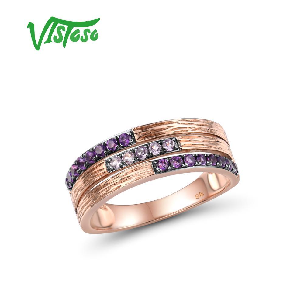 VISTOSO anillo de oro auténtico 9K 375 rosa con amatista para el aniversario de compromiso de la señora joyería elegante encantadora Plata de Ley 925 auténtica anillos para hombre con ojo de tigre piedras naturales anillos Vintage grande en Fijne Sieraden joyería de Turquía turca