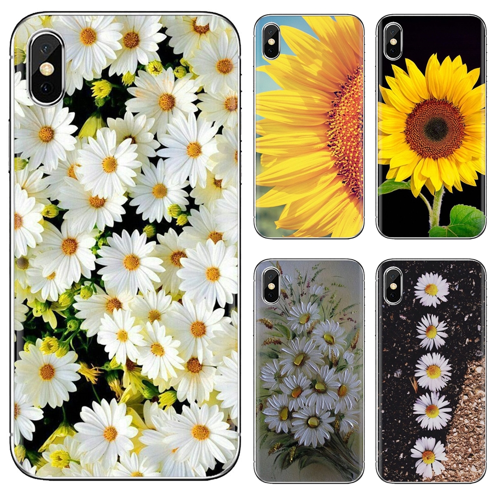 Buy Silicone Phone Case For Huawei Mate Honor 4C 5C 5X 6X 7 7A 7C 8 9 10 8C 8X 20 Lite Pro Small Daisy Sunflower(China)