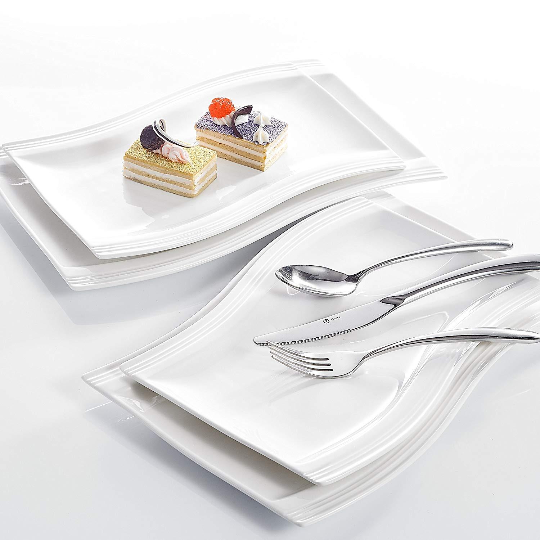 MALACASA assiette en céramique porcelaine blanche, service de table en céramique porcelaine blanche assiette Dessert Fruit 11