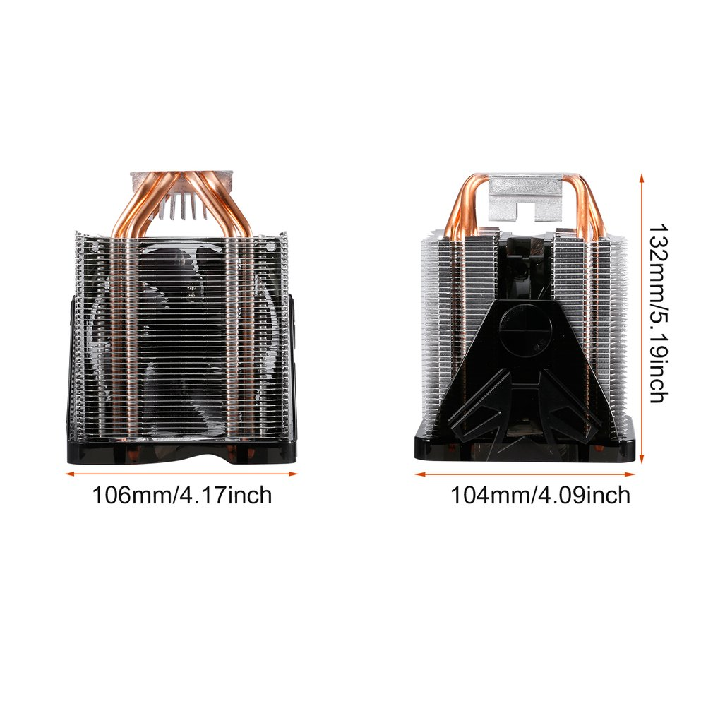 Купить с кэшбэком LESHP CPU Cooler Ultra Quiet 20dB(A) with 90mm Fan Four Pure Copper Heat Pipes Four-wire for PC Computer Long Life Compact