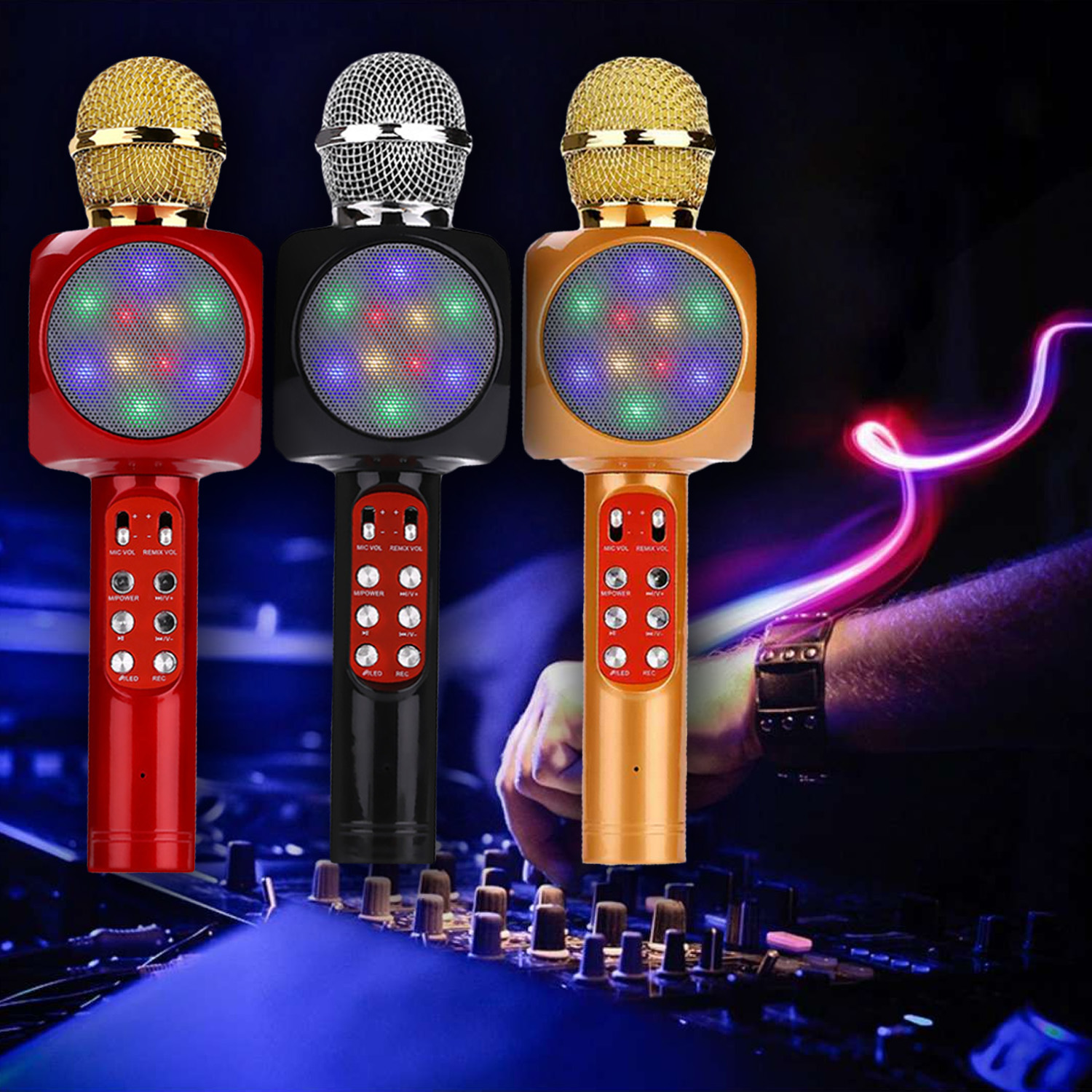 Karaoke Microphone Portable Wireless Bluetooth Speaker Built-in LED Lights FM Radio Handheld Glowing Karaoke Mic Kids Music Toy