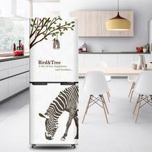 3D Vinyl Self Adhesive Kitchen Fridge Sticker Refrigerator Cover Wallpaper Door Wrap Film(China)