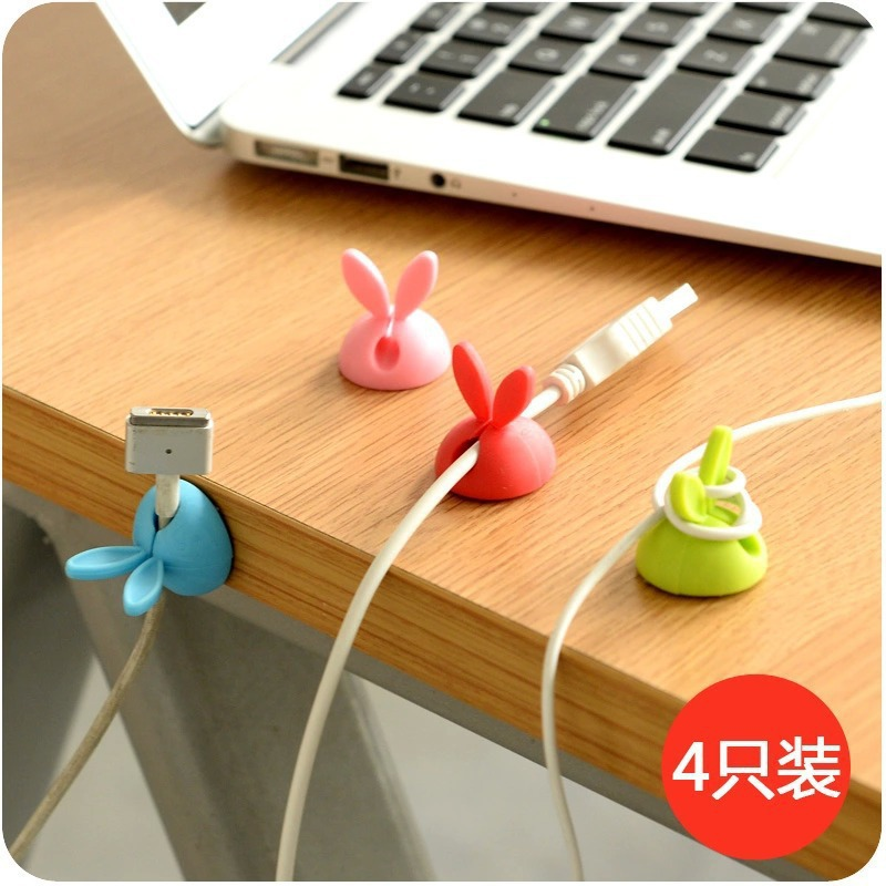 South Korea Rabbit Eared Wire Holder 4-Pack Silicon Wire Holder Viscose Wire Fixed Device 30g