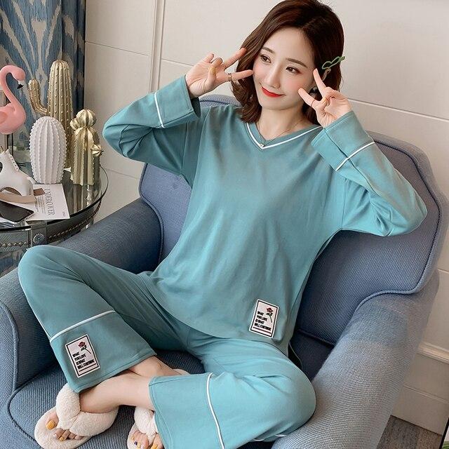 26 Style Choose Autumn Winter Women Pajamas Set 2019 Cotton Warm Long Sleeve Print Girl Sleepwear Christmas Adult  Party pajamas