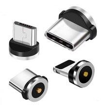 Круглый Магнитный кабель с разъемами типа C Micro USB C 8 pin, адаптер для быстрой зарядки телефона, Магнитный зарядный штекер Micro USB Type-C