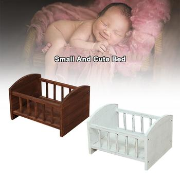 Newborn Photography Props Small Bed Baby Photo Decoration Small Wooden Bed With Railing Shooting Memorial Tool