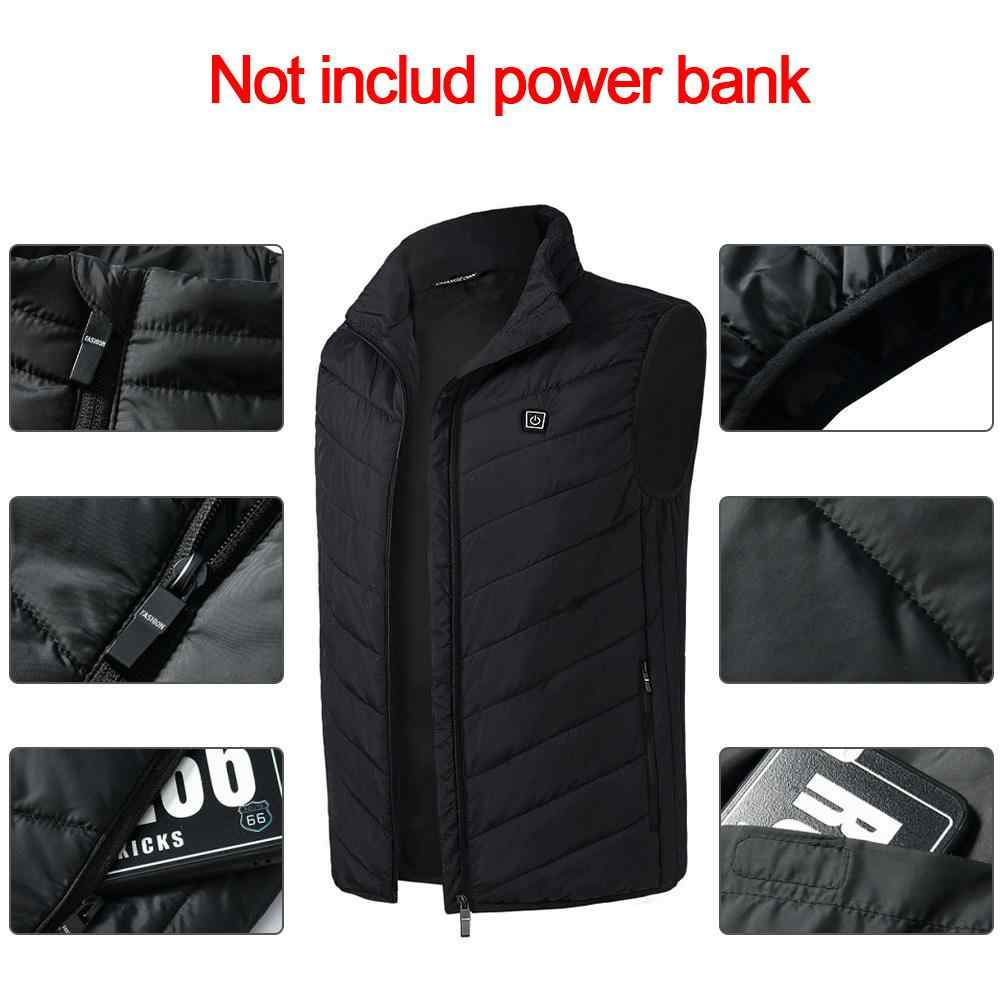 a6358344c 2019 Winter USB Infrared Heating Vest Jacket Electric Thermal Clothing  Waistcoat For Outdoor Hiking Cycling Fishing Men Women