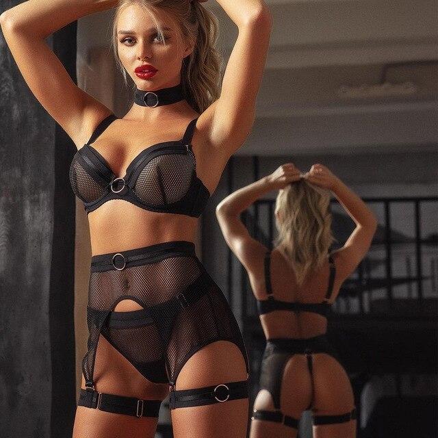 Sexy 3 Piece Black Lingerie Set See Through Transparent Bra and Panties Garter Belt #L1445 4
