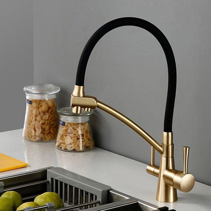 Mat vieil or couleur osmose inverse Tri débit filtre à eau robinet 3 voies évier mélangeur trois voies cuisine mis robinet
