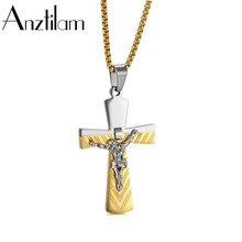 Anztilam hip hop cristo jesus cruz pingente colar de aço inoxidável cruz pingentes para homem mulher jóias presente