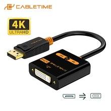 Cabletime expositor porta para dvi adaptador macho para fêmea ativo dp conversor para dvi extention 1080p 3d para hdtv pc projetor c080