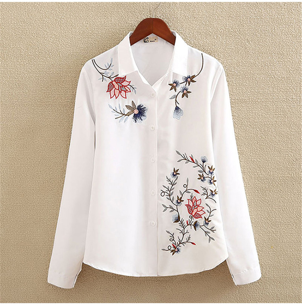Floral Embroidery White Shirt Blouse  2020 Spring Casual TopTurn Down Collar Long Sleeve Cotton Women's Blouse Feminina 1518 (12)