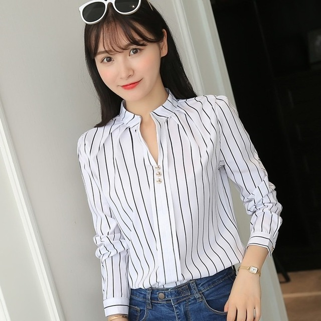 Fashion Stripe Print Design White Women Tops and Blouses Casual Long Sleeve Office Lady Work Formal Shirts Female 2019 Plus Size