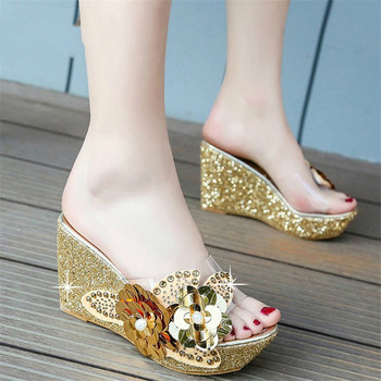 2020 Summer New Wedges Sandals Women Sexy Crystal Transparent High Heels PVC Slippers String Bead  Fashion Shoes - discount item  30% OFF Women's Shoes