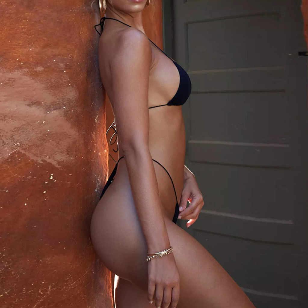Vrouwen Sexy Bikini Bandeau Bandage Bikini Set Push-Up Braziliaanse Badmode Badmode Badpak 2020 Mujer Effen Sling Backless