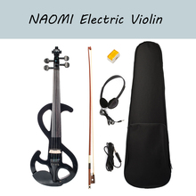 NAOMI Electric Violin Black Full Size 4/4 Solid Wood Metallic Electronic Violin Silent Violin With Carrying Case Cable Rosin Bow
