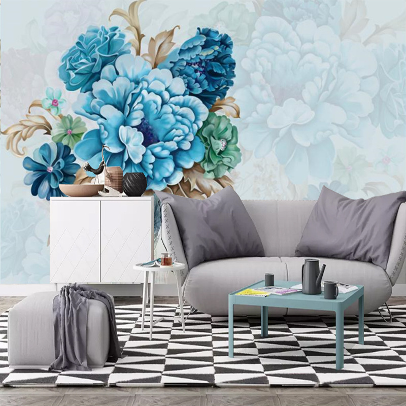 Northern European-Style Flower Sofa Wall Wallpaper Bedroom Living Room Wall Cloth Mural Painted Peony TV Backdrop Wallpaper