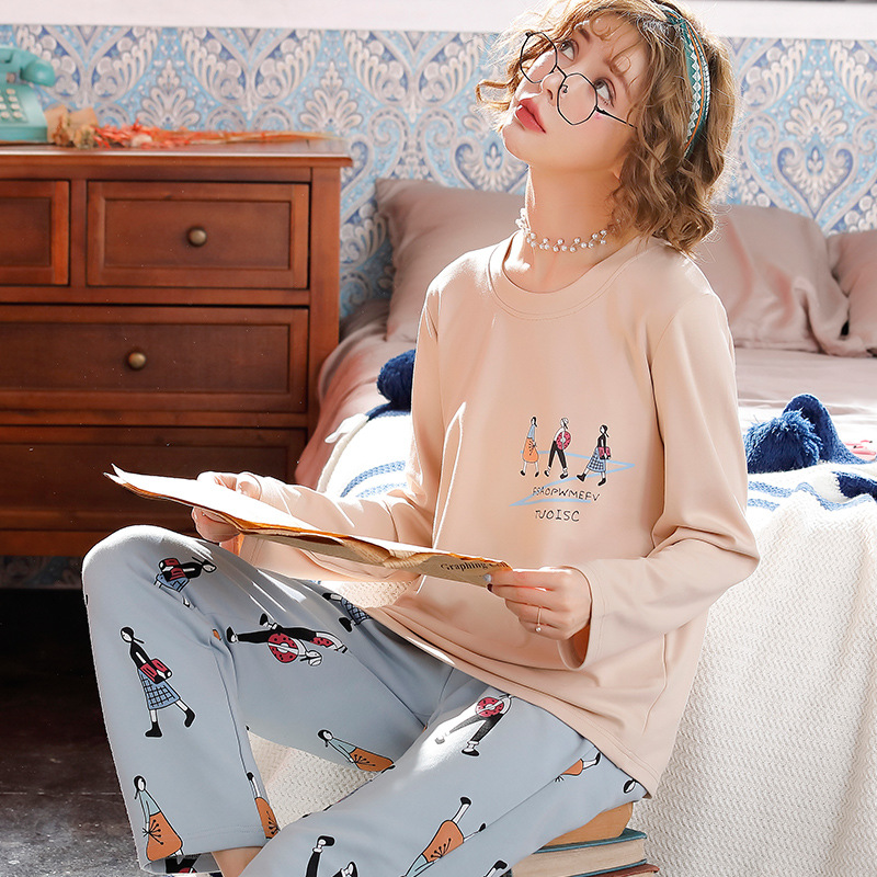 Korean-style Spring New Products 2020 Cartoon Cute Loose Casual WOMEN'S Pajama Two-Piece Set Cotton Homewear Set