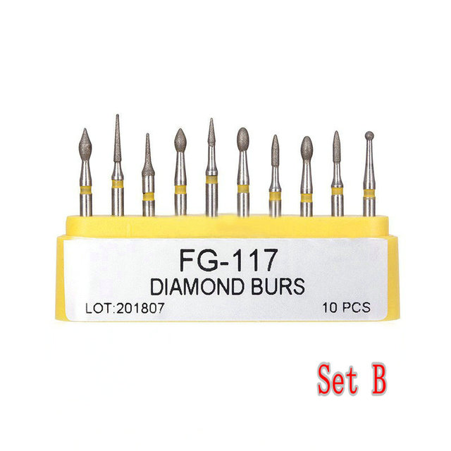10pcs/kit Dental Diamond Burs for Teeth Porcelain Ceramics Composite Polishing 3