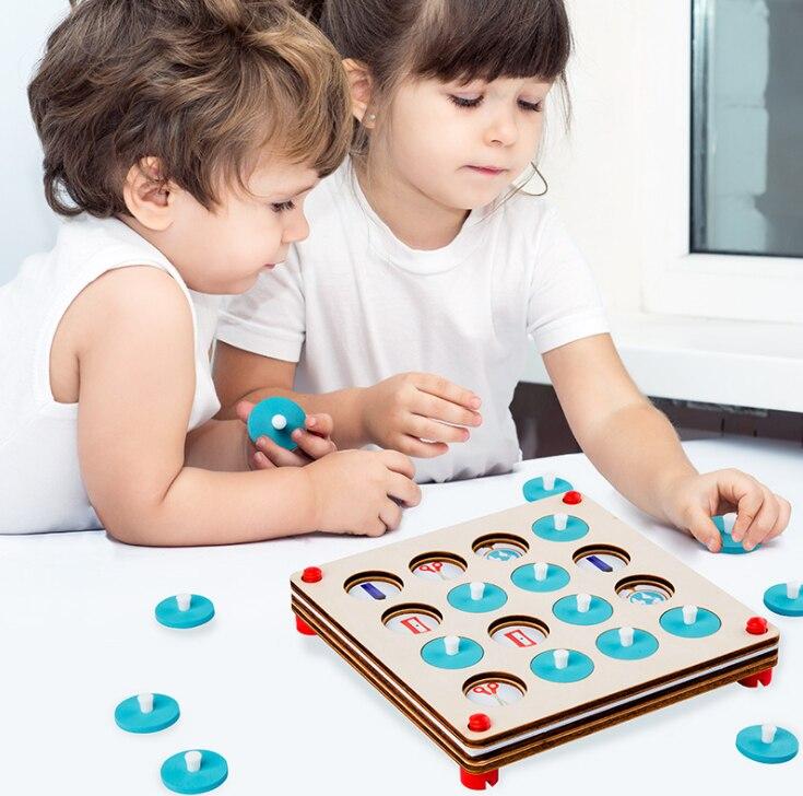 Brinquedos de Madeira Jogo de Xadrez Jogo de Memória Festa da Família Crianças Cedo Educacional Puzzles Jogo Interativo Quebra-cabeças ir 3d