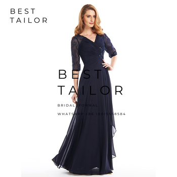 Navy Blue Chiffon Mother of the Bride Dresses for Weddings 2019 V-Neck Lace Half Sleeves Pleats Wedding Party Gowns Hollow Back 4