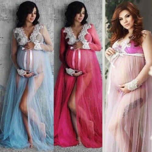 3 màu Chụp Ảnh Chụp ảnh Phụ Nữ Mang Thai Dài Tay Sơ Sinh Đầm Ren Maxi Áo Choàng Mang Thai Áo Quần Áo