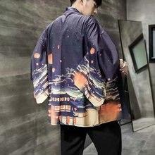 Юката Хаори Кимоно Халат Повседневный Плюс Размер Японский Кардиган Мужчины И Женщины Японский Самурай Одежда Китайский Стиль Печати Пальто