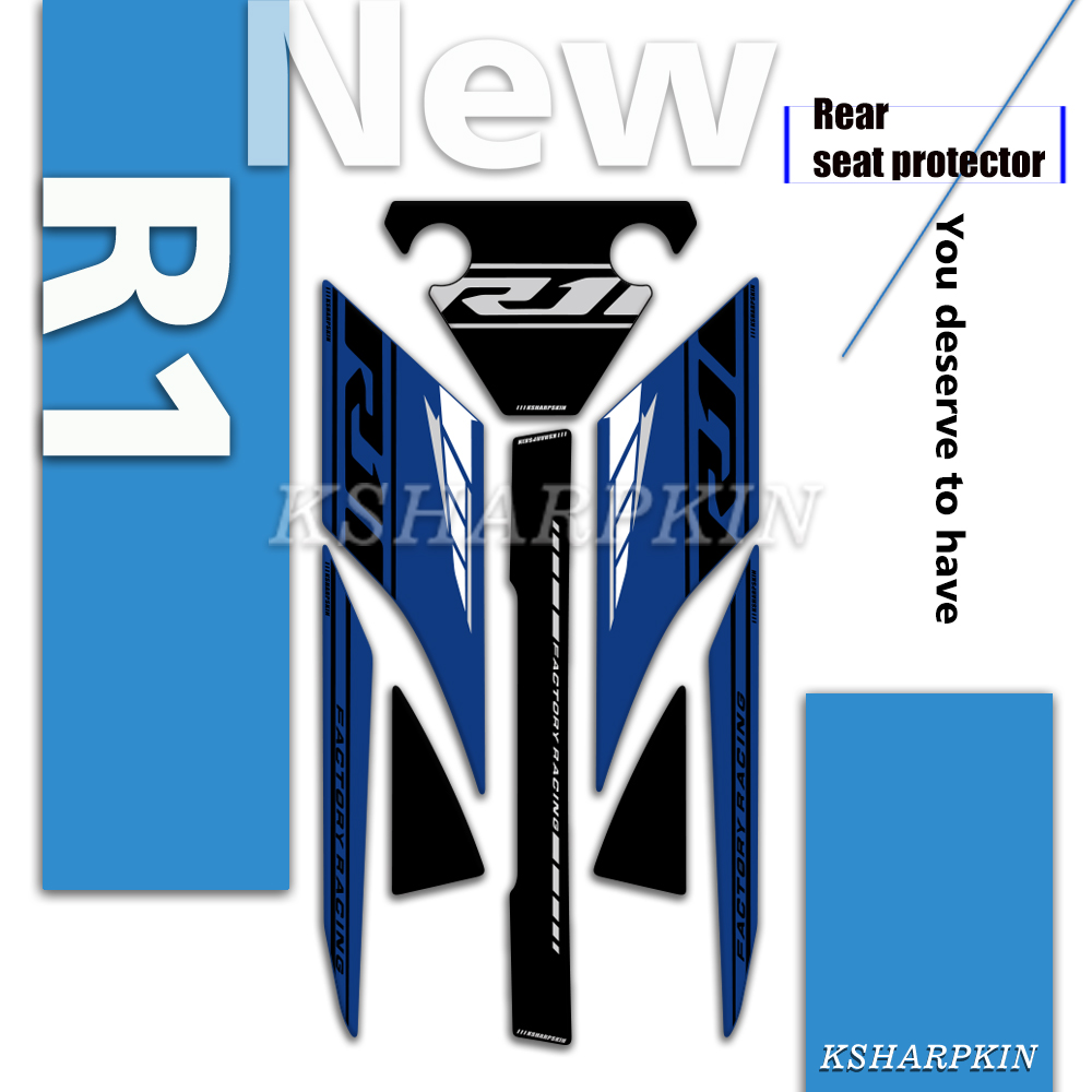 NEW Motorcycle Rear Fairing 3D Gel Sticker Protector Number Board Moto Accessories decoration decals for Yamaha <font><b>R1</b></font> 2018 <font><b>2019</b></font> image