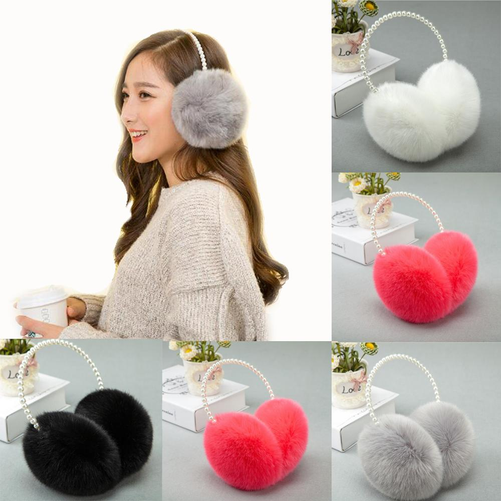 Winter Pearl Imitation Rabbit Fur 2018 Women Earmuffs Ear Warmer Soft Lady Keep Warm White Coffee Beautiful Big Plush Ear Cover
