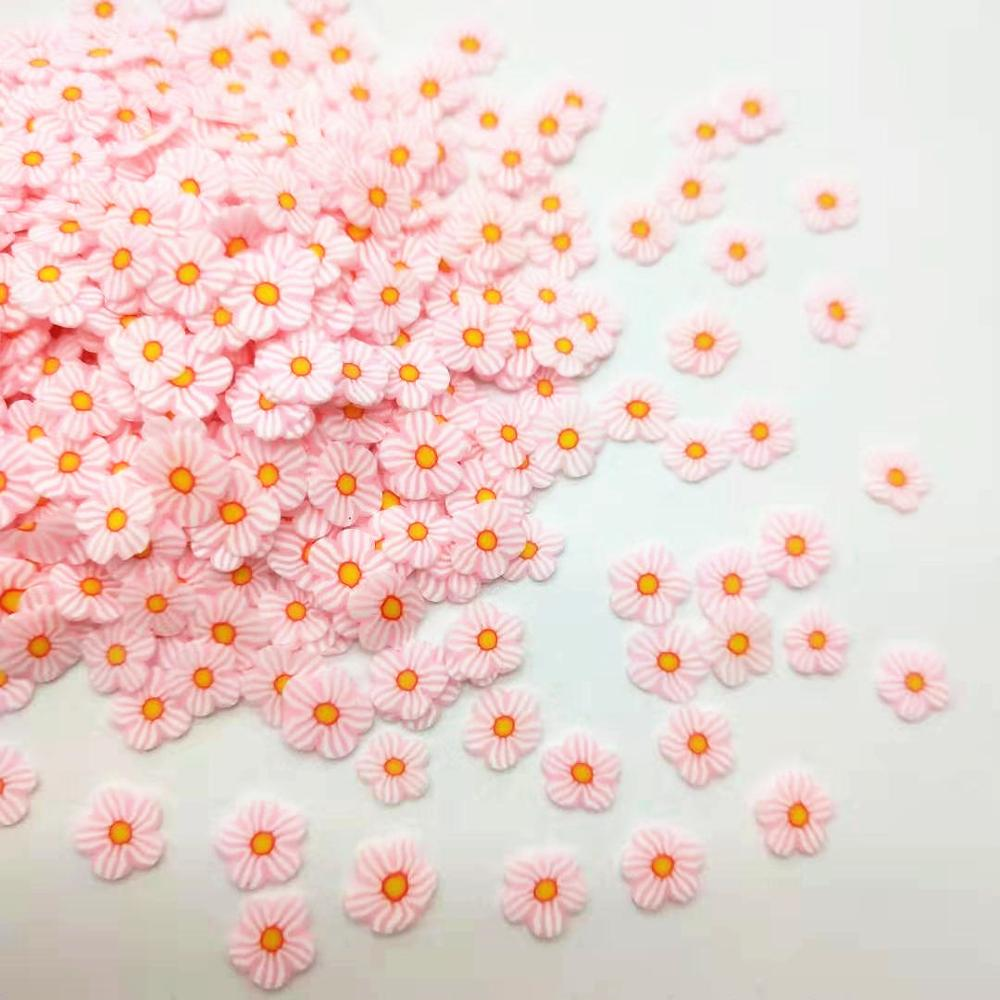 20g/lot Pink Daisy Flower Polymer Clay Colorful For DIY Crafts Tiny Cute 5mm Plastic Klei Mud Particles