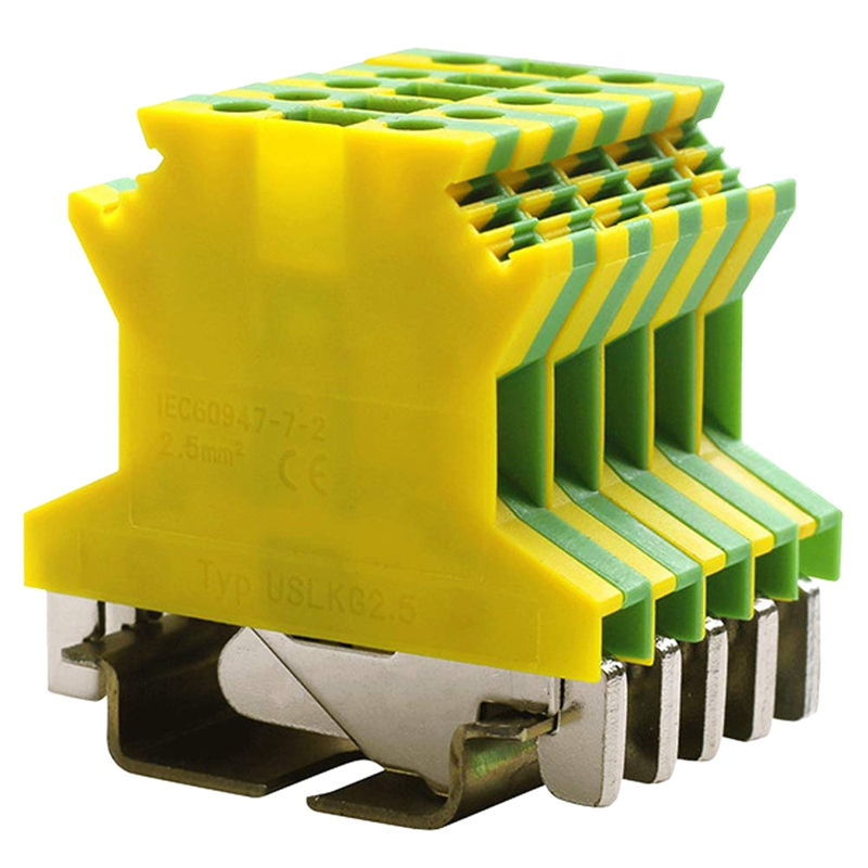 Uslkg2.5N Din Rail Mounted Ground Circuit Connection Terminal Block  600V 20A  24 12 Awg  Screw Clamp (Pack Of 50)|Plug & Connectors| |  -