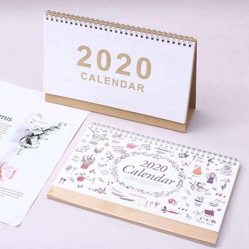Simple Floral 2020 Coil Desk Calendar Note English Calendar Memo Daily Schedule Office Desk Supplies