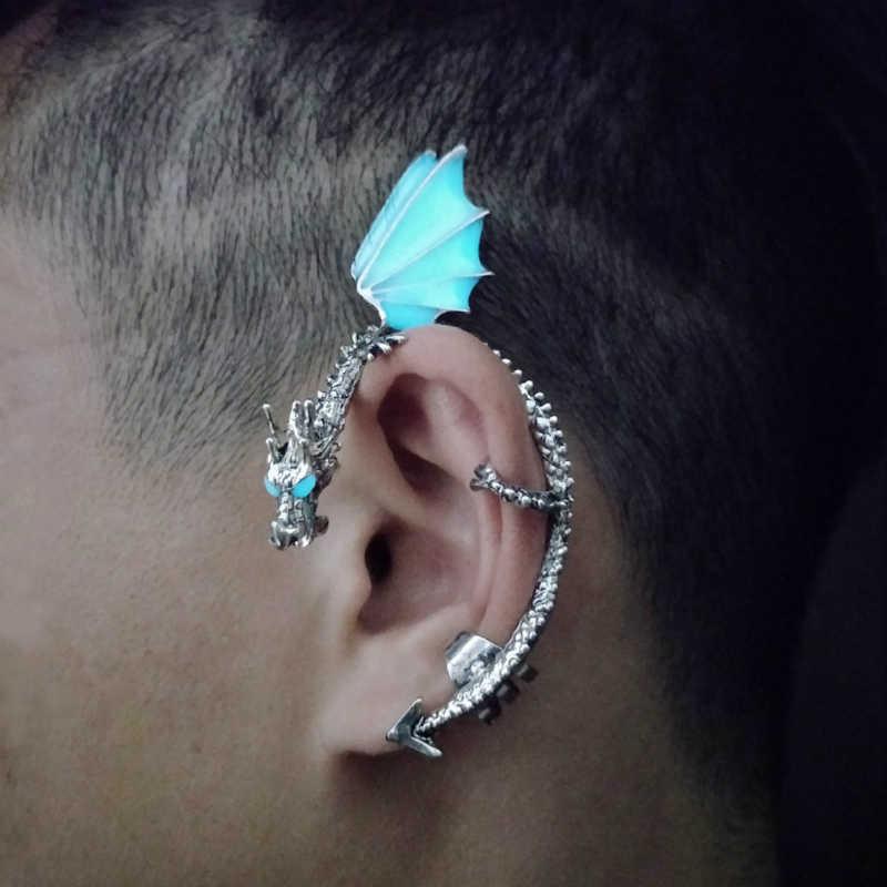 2019 Baru Bercahaya Dragon Manset Telinga Klip Glow In The Dark PUNK Telinga Perhiasan untuk Pria dan Wanita Stainless Steel fashion Hadiah